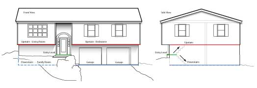 Elevation drawing of Split Level Home